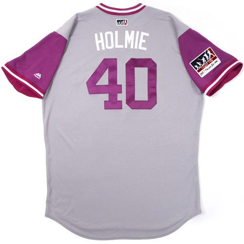 "Photo of Darren ""Holmie"" Holmes Colorado Rockies 2017 Game-Used Players Weekend Jersey"