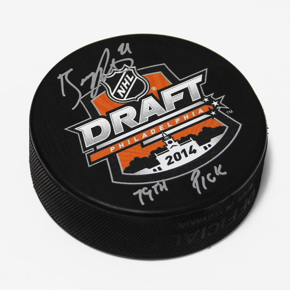 Brayden Point 2014 NHL Draft Day Autographed Hockey Puck with 79th Pick Note *Tampa Bay Lightning*