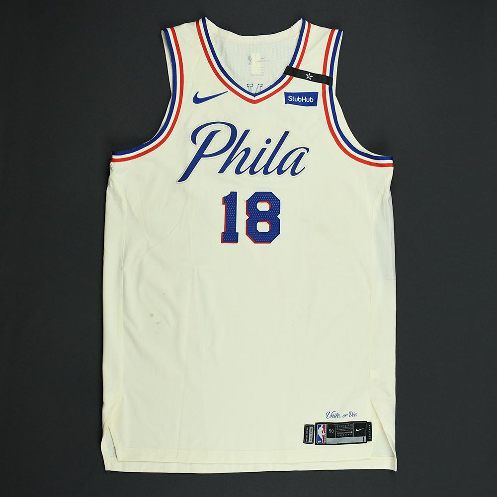 44ba82a6339 ... free shipping marco belinelli philadelphia 76ers 2018 nba playoffs game  worn city jersey 843eb 66fa7