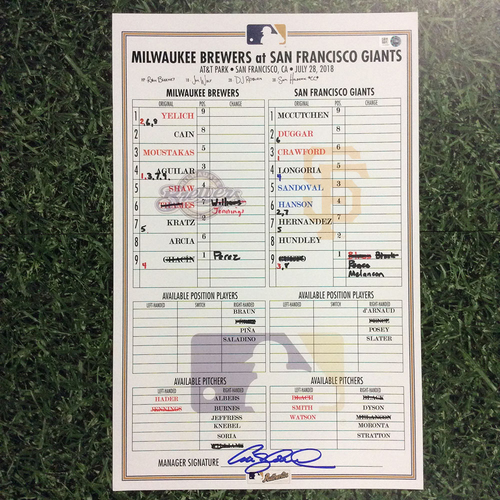 Photo of MIL @ SF 07/28/18 Game-Used Lineup Card - Win 7-1: Mike Moustakas Milwaukee Brewers Debut Game