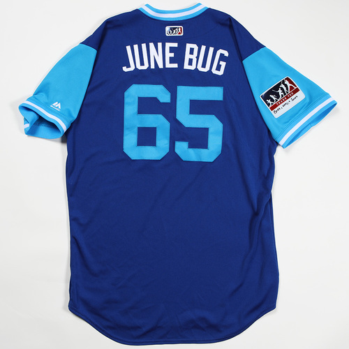 "Photo of Jakob ""June Bug"" Junis Kansas City Royals Game-Used Jersey 2018 Players' Weekend Jersey"