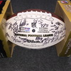 Patriots - Multi signed panel ball w/ Patriots logo (including Rob Gronkowski, Wes Welker, Kevin Faulk, Logan Mankins, Devin McCourty and Stephen Gostkowski) signed by over 50 players, multiple smudges due to player handling