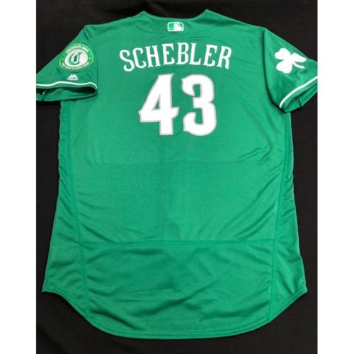 Photo of Scott Schebler -- Team-Issued Jersey -- 2019 St. Patrick's Day