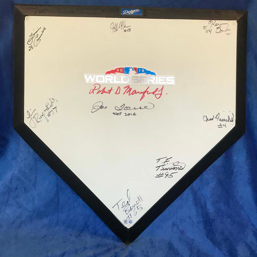 Photo of UMPS CARE AUCTION: 2018 World Series Crew Signed Plate + Joe Torre & Robert Manfred
