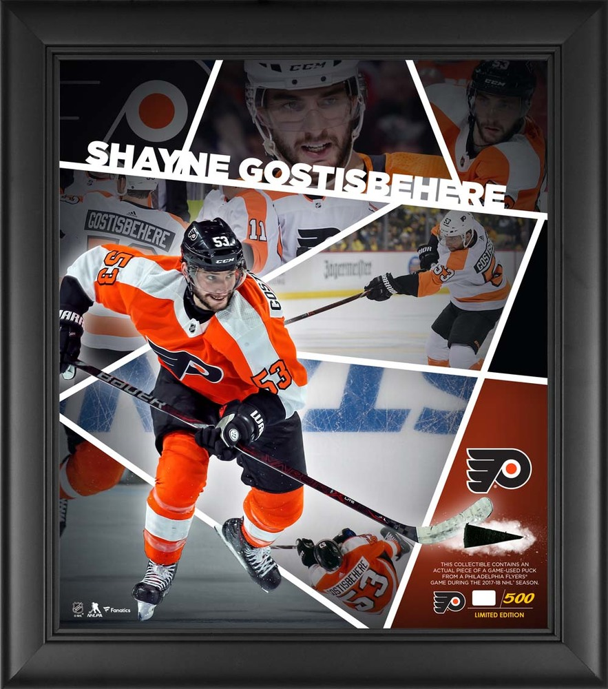 Shayne Gostisbehere Philadelphia Flyers Framed 15'' x 17'' Impact Player Collage with a Piece of Game-Used Puck - Limited Edition 53 of 500