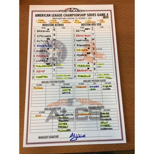 Photo of 2018 Game-Used ALCS Game 4 Lineup Card - 10/17/18 vs BOS