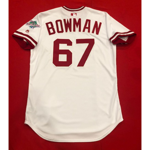 Photo of Matt Bowman -- Team Issued 1990 Throwback Jersey -- Cardinals vs. Reds on Aug. 18, 2019 -- Jersey Size 44