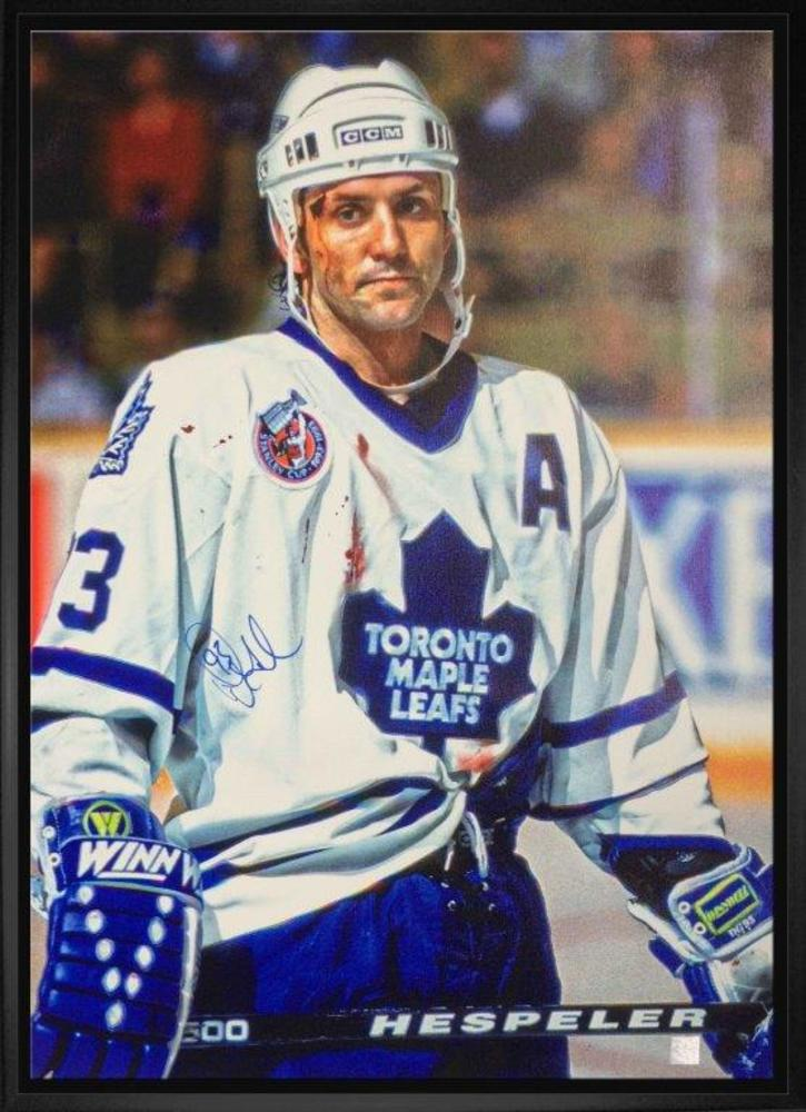 Doug Gilmour Signed 20x29 Canvas Framed Leafs White Bloody Warrior