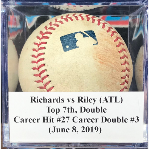 Photo of Game-Used Baseball: Austin Riley (ATL), Top 7th, Double - Career Hit #27 - Career Double #3 (June 8, 2019)