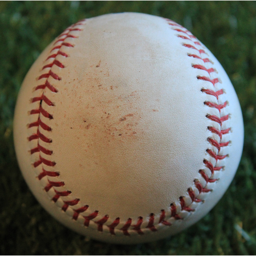 Photo of Game-Used Baseball: Seth Brown 1st Career Double (8/28/19 - OAK @ KC)