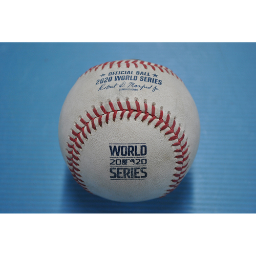 Photo of Game-Used Baseball - 2020 World Series - Los Angeles Dodgers vs. Tampa Bay Rays - Game 3 - Pitcher: Ryan Yarbrough, Batter: A.J. Pollock (Foul) - Top 4