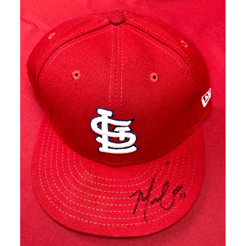 Photo of Matt Carpenter Autographed Team-Issued Home Cap (Size 7 3/8)