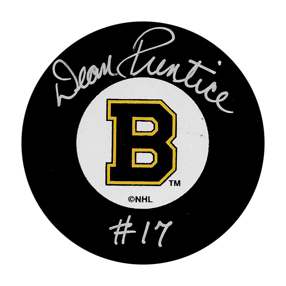 Dean Prentice Autographed Boston Bruins Puck