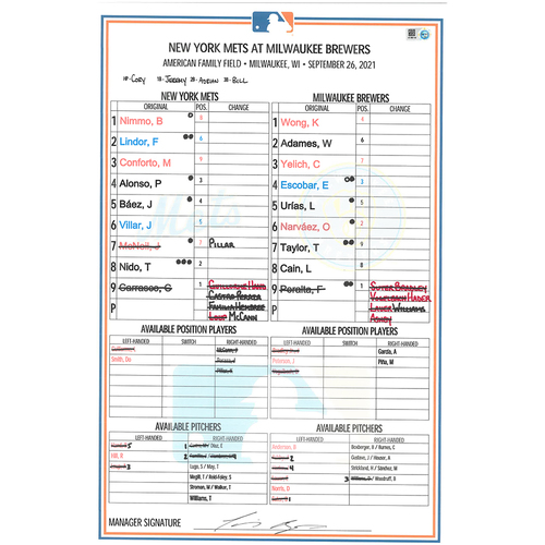 Photo of Game Used Lineup Card - Brewers Clinch NL Central Division Title; Carrasco 4 IP, 3 K's; Lindor HR (18), Alonso 1-2, 2B, 2 Runs Scored; Baez 2-4, 2B, 2 RBI's - Mets vs. Brewers - 9/26/21