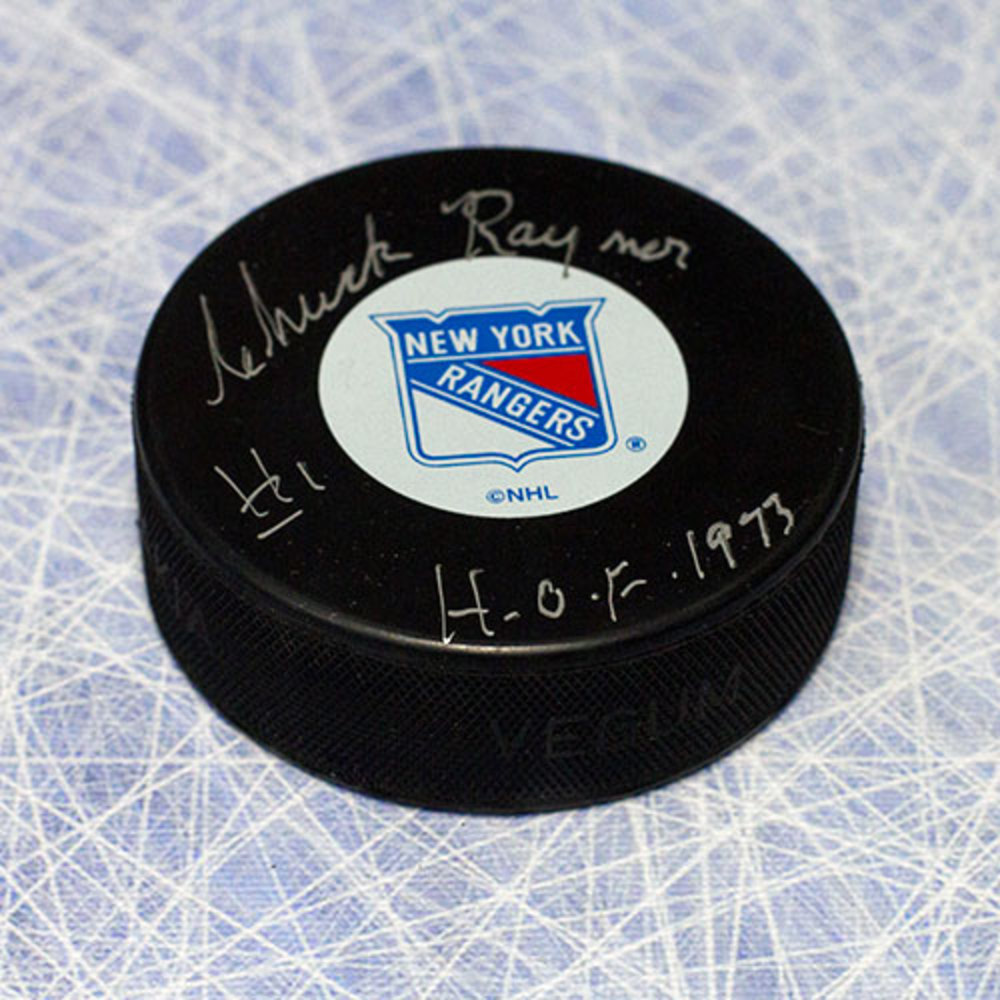 Chuck Rayner New York Rangers Autographed Hockey Puck with HOF Inscription