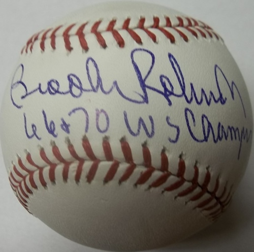 "Photo of Brooks Robinson ""66+70 WS Champs"" Autographed Baseball"