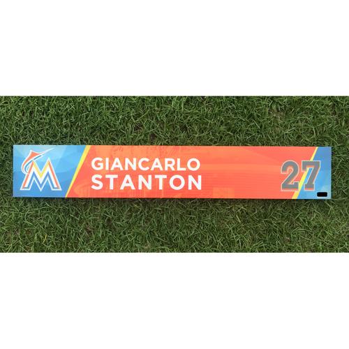 Giancarlo Stanton Game-Used Locker Tag - HR #58 & #59 of 2017