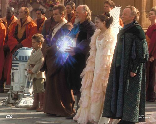 Anakin Skywalker, Obi-Wan Kenobi, Sio Bibble, Padmé Amidala and Senator Palpatine