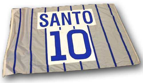 Photo of Wrigley Field Collection - Foul Pole Flag - Ron Santo Retired Number Flag - 'Santo 10'