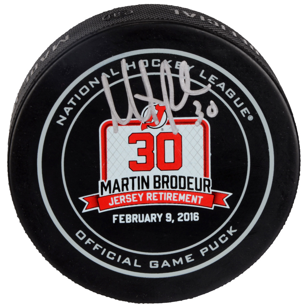 Martin Brodeur New Jersey Devils Autographed February 9, 2016 Retirement Night Official Game Puck