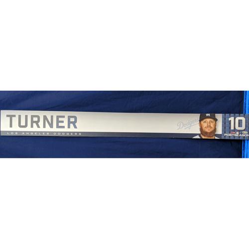 Photo of Justin Turner 2018 Post Season Game-Used Locker Tag