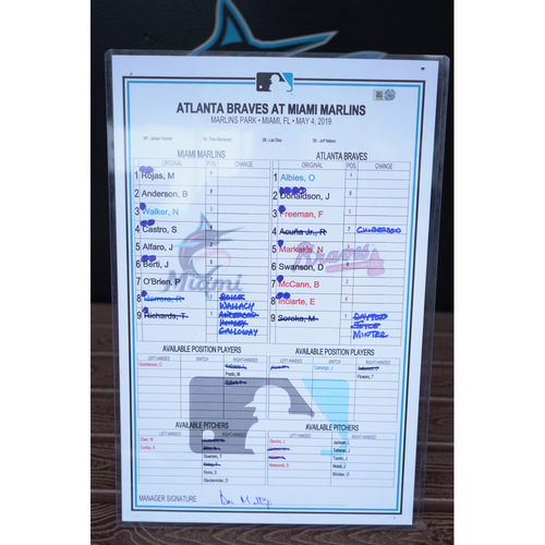 Photo of Game-Used Lineup Card: Braves @ Marlins (May 4, 2019)