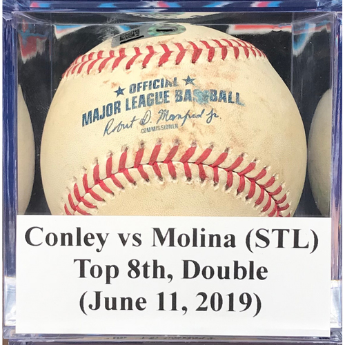 Photo of Game-Used Baseball: Yadier Molina (STL), Top 8th, Double (June 11, 2019)