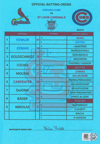 Photo of Batting Order Card -- Cardinals vs. Cubs -- 9/22/19