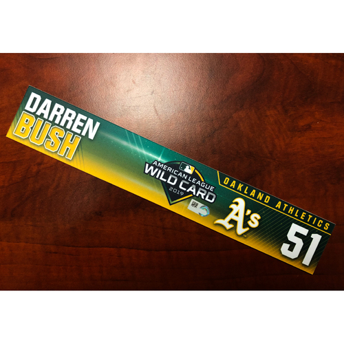 Darren Bush Game-Used 2019 A.L. Wild Card Locker Nameplate