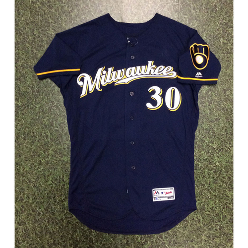 Photo of Craig Counsell 2018 Game-Used Navy Ball & Glove Jersey