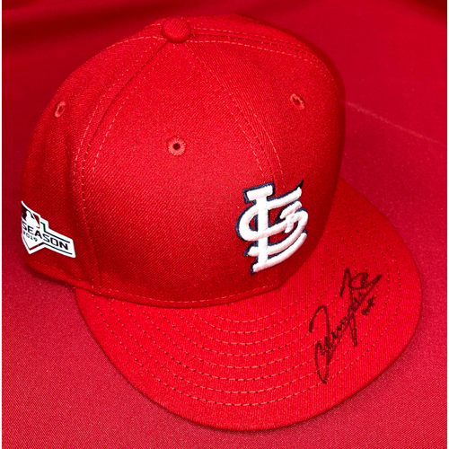 Photo of Giovanny Gallegos Autographed Team-Issued 2019 Postseason Home Cap (Size 7 1/2)