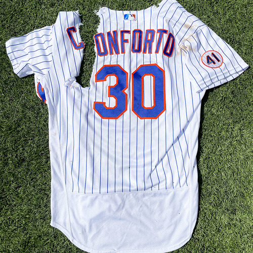 Photo of Michael Conforto #30 - Game Used White Pinstripe Jersey with Seaver Patch - 2021 Mets Home Opener, Conforto Walk-Off HBP - Mets vs. Marlins - 4/8/21