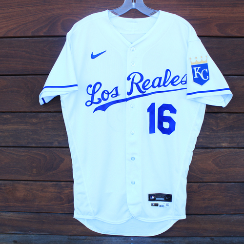 Photo of Game-Used Los Reales Jersey: Andrew Benintendi #16 - 2 for 4 (Single, Single) (SEA@KC 9/17/21) - Size 42