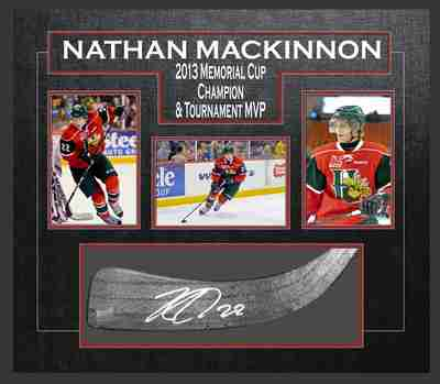 Nathan MacKinnon - Signed & Framed Stick Blade - Featuring Halifax Mooseheads Photo Collection