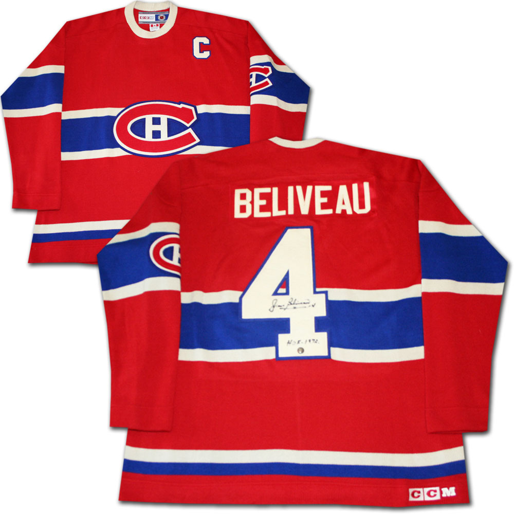 Jean Beliveau Autographed Montreal Canadiens Heritage Wool Jersey