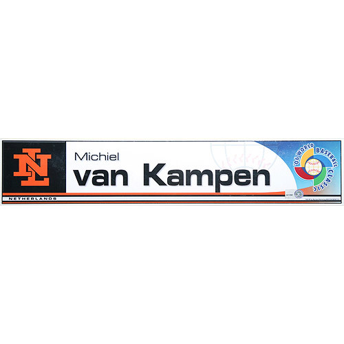 Photo of 2006 Inaugural World Baseball Classic: Michiel Van Kampen Locker Tag (NED) Game-Used Locker Name Plate