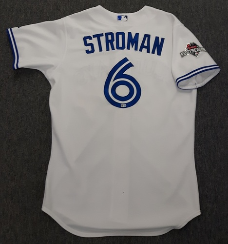 Photo of Authenticated Game Used Postseason Jersey - #6 Marcus Stroman (October 8, 2015: ALDS Game 1). Size 44.