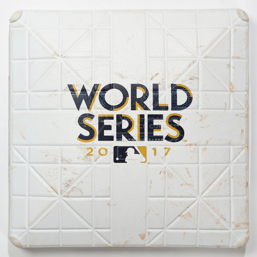 Photo of Game-Used Base: 2017 World Series Game 7 - Houston Astros at Los Angeles Dodgers - 3rd Base used in Innings 7-9