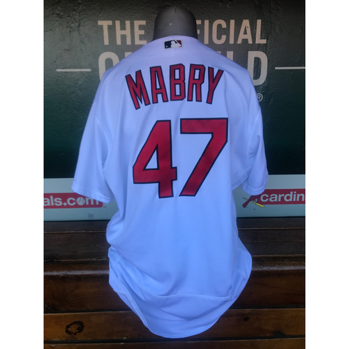 Photo of Cardinals Authentics: Game Worn John Mabry Home White Jersey *10,000th Win*