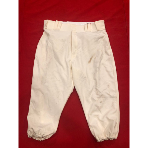 Photo of Jesse Winker -- Game-Used Pants -- 1902 (Starting LF: Went 1-for-4, 2B, R) & 1912 Throwback Games (Starting LF: Went 1-for-4) -- Size: 35-42-19