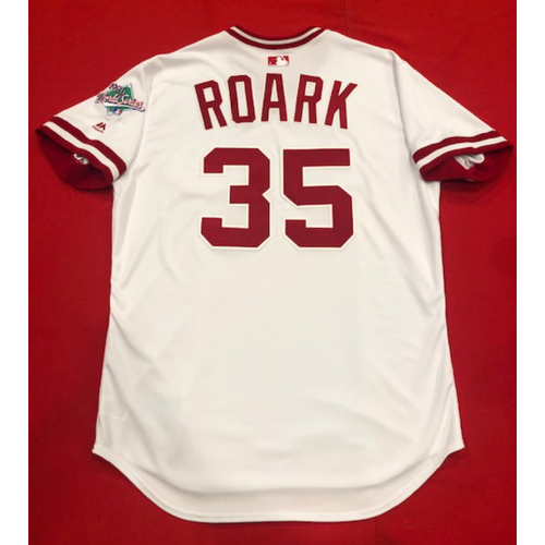 Photo of Tanner Roark -- Team Issued 1990 Throwback Jersey -- Cardinals vs. Reds on Aug. 18, 2019 -- Jersey Size 48