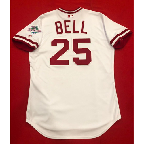 Photo of David Bell -- Game-Used 1990 Throwback Jersey & Pants -- Cardinals vs. Reds on Aug. 18, 2019 -- Jersey Size 44 / Pants Size: 34-36-19