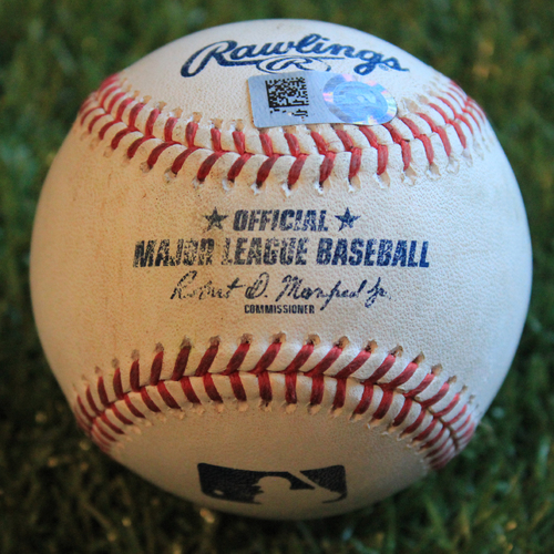 Photo of Game-Used Baseball: Alex Gordon 1,609th Career Hit - Final Hit of 2019 Season (9/28/19 - MIN @ KC)