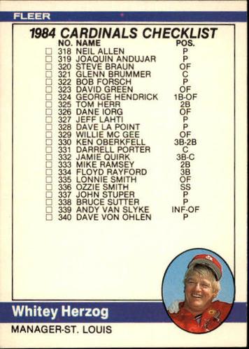 Photo of 1984 Fleer #660 CL: Cardinals/Teams/Whitey Herzog MG