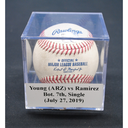 Photo of Game-Used Baseball: Alex Young (ARZ) vs Harold Ramirez, Bot. 7th, Single - July 27, 2019