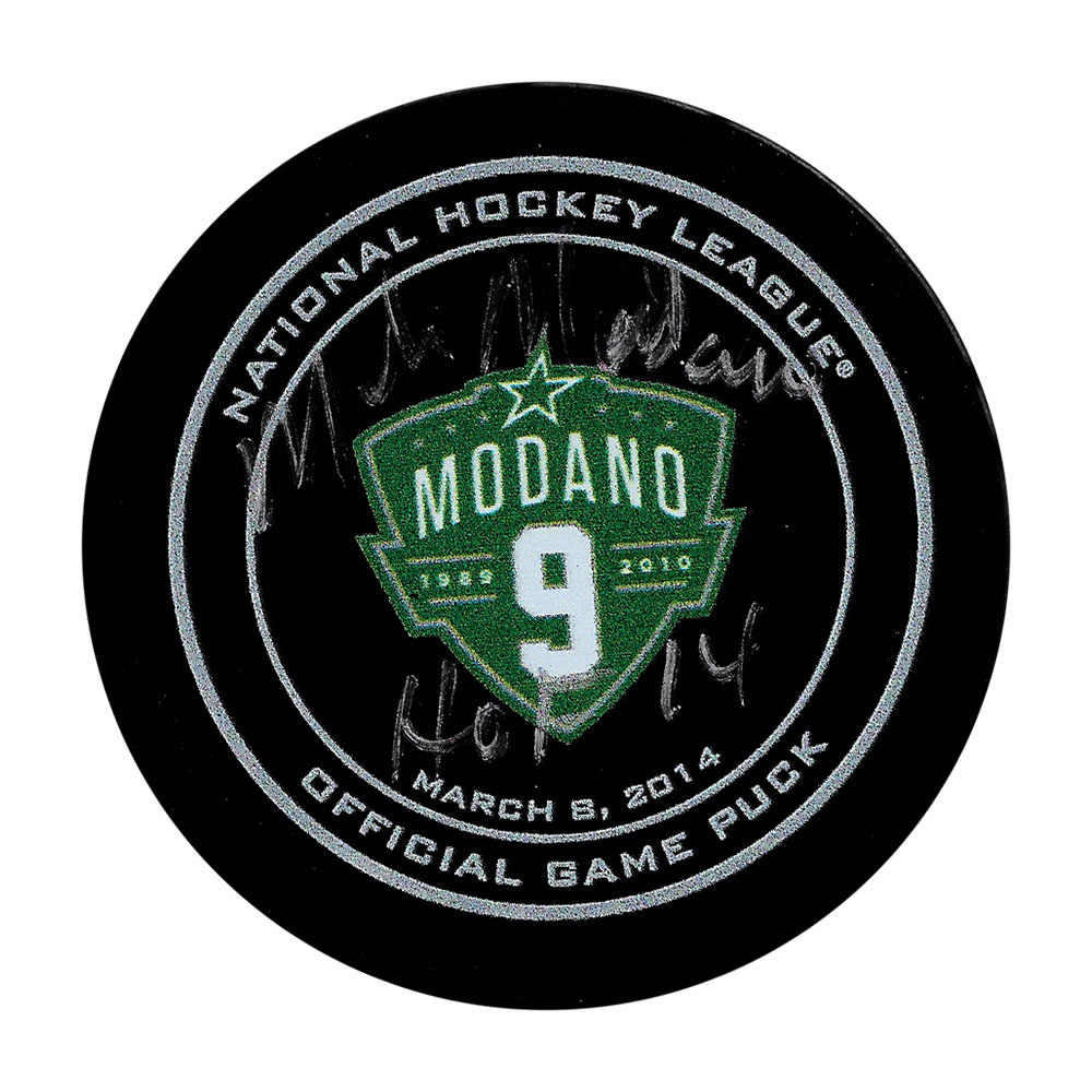 Mike Modano Autographed Dallas Stars Modano Night Official Game Puck w/HHOF 2014 Inscription