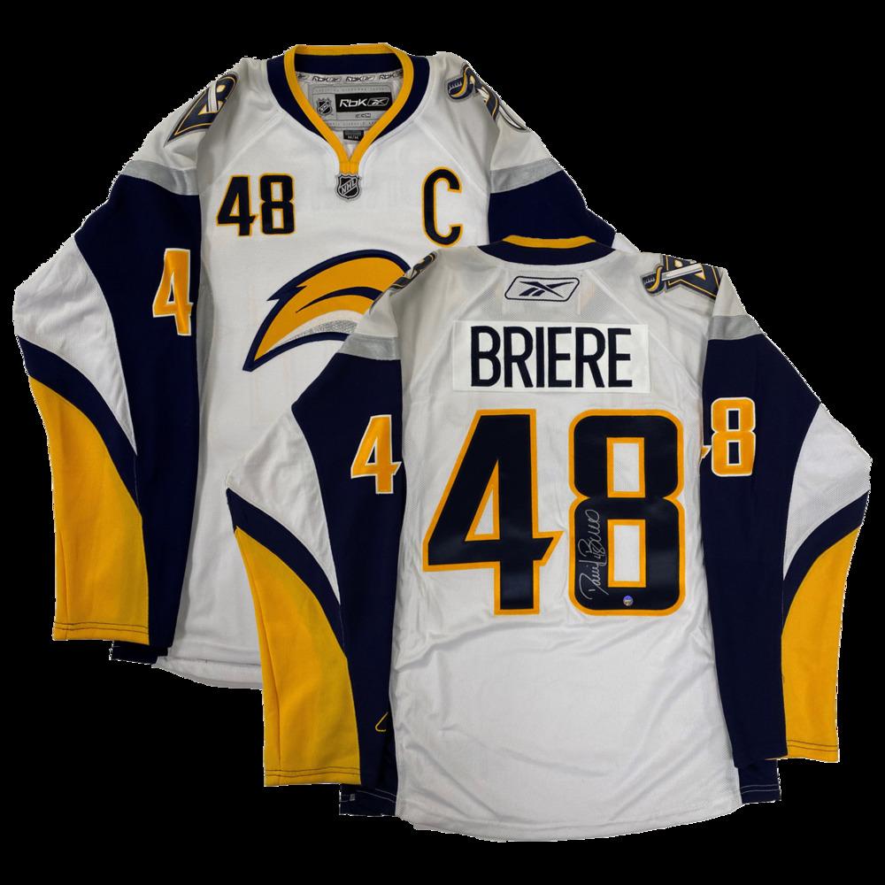 Daniel Briere Signed Jersey Sabres Replica White 2007-10 Reebok