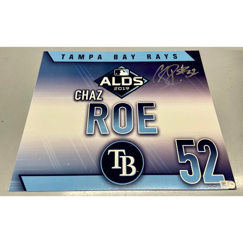 Photo of Game Used Autographed ALDS Locker Tag: Chaz Roe - October 7, 2019 v HOU