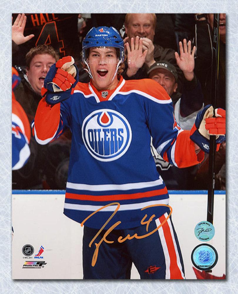 Taylor Hall Edmonton Oilers Autographed Goal Celebration 8x10 Photo *New Jersey Devils*