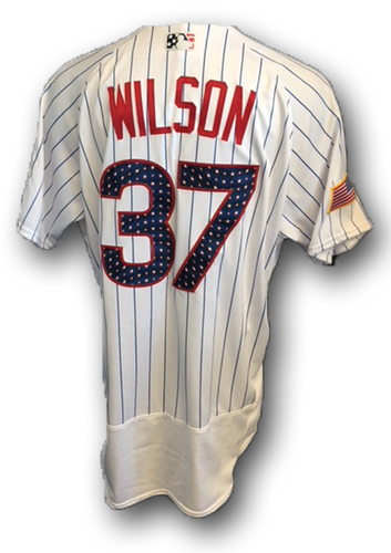Photo of Justin Wilson Stars and Stripes Game-Used Jersey -- Tigers vs. Cubs -- 7/4/18